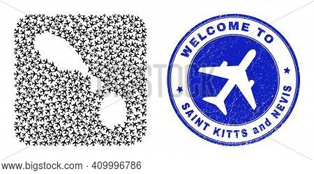 Vector Mosaic Saint Kitts And Nevis Map Of Aero Items And Grunge Welcome Badge. Mosaic Geographic Sa