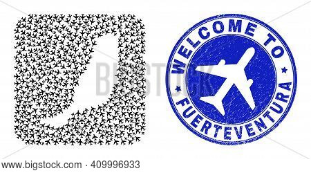 Vector Mosaic Fuerteventura Island Map Of Airways Elements And Grunge Welcome Badge. Mosaic Geograph