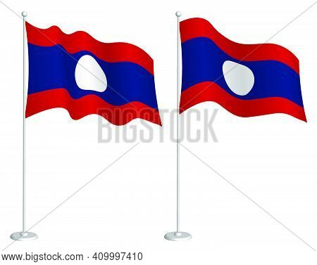 Flag Lao People Democratic Republic On Flagpole Waving In Wind. Holiday Design Element. Checkpoint F