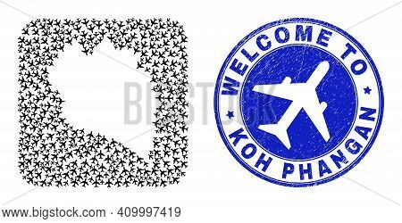 Vector Mosaic Koh Phangan Map Of Airlines Elements And Grunge Welcome Seal. Mosaic Geographic Koh Ph