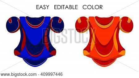 Ice Hockey Player Chest Protector In Flat Style. Shoulder And Chest Protection For Upper Body. Team