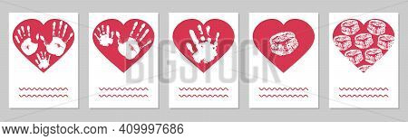 Greeting Card, Set. Handprints Of Family, Imprint Of Palm Hand Of Mother, Father And Baby, Imprint O