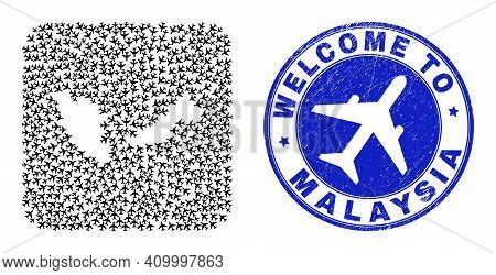 Vector Mosaic Malaysia Map Of Airliner Items And Grunge Welcome Seal Stamp. Mosaic Geographic Malays