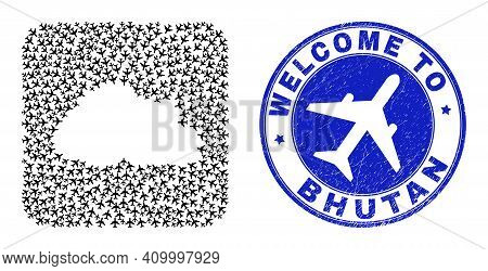 Vector Collage Bhutan Map Of Airline Elements And Grunge Welcome Seal Stamp. Collage Geographic Bhut