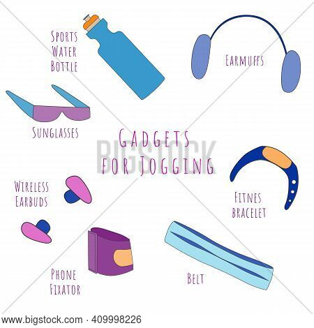 Set Of Common Gadgets For Jogging. Isolated Sport Water Bottle, Phone Fixator, Belt For Carrying Thi