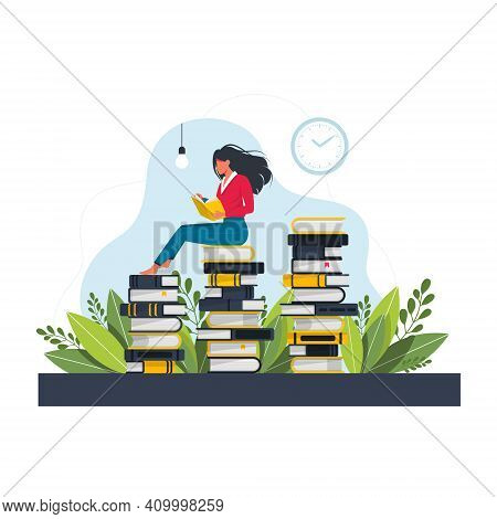 Young Woman Sitting And Reading On A Huge Stack Of Books. Cartoon Flat Vector Illustration Isolated