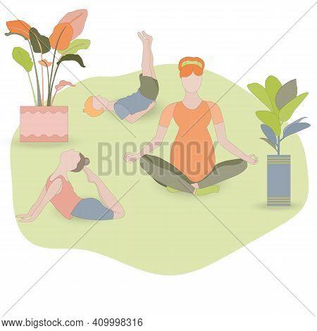 Pregnant Women In Lotus Asana Meditating. Little Kids Doing Asanas Nearby. Little Girl In King Pigeo