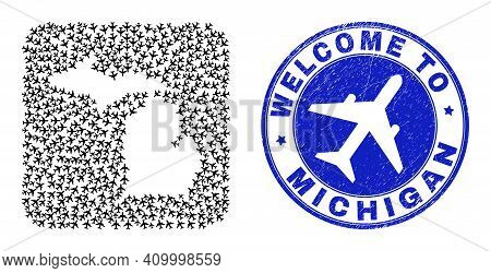 Vector Mosaic Michigan State Map Of Elements And Grunge Welcome Seal Stamp. Collage Geographic Michi