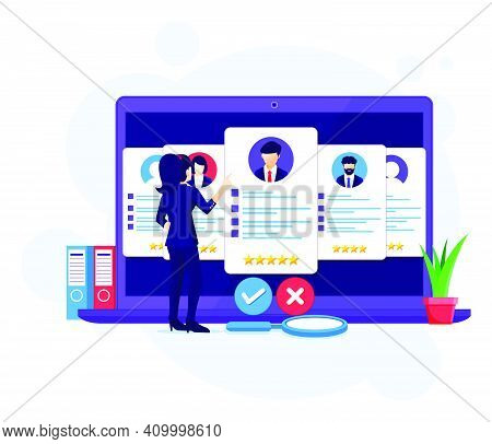Online Recruitment Concept, Businesswoman Search And Choose A Candidate For The New Employee, Hiring