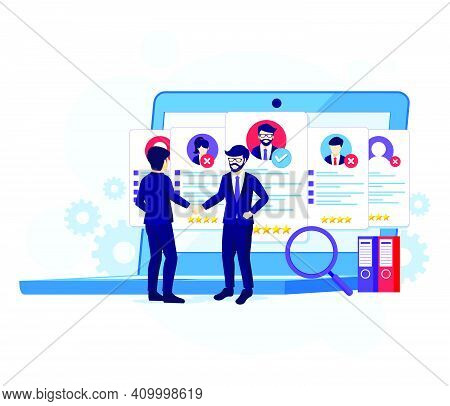 Recruitment Concept, Businessman And Employer Agreed And Completed The Deal With Shaking Hands Vecto
