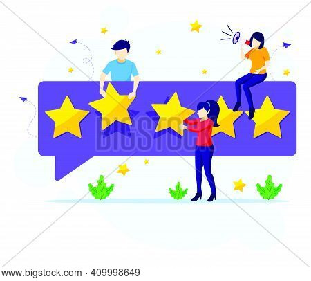 Customer Reviews Concept, People Giving Five Stars Rating And Review, Positive Feedback. Customer Se
