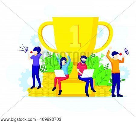 Business Success Concept, Successful Teamwork Near A Giant Golden Trophy. Successful Teamwork Flat E