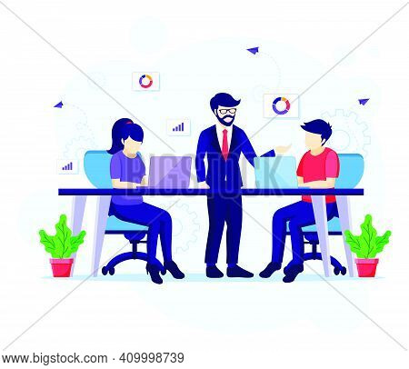 Team Work In Co-working Space Concept, People In Meeting And Work On Desk Vector Illustration