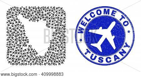 Vector Collage Tuscany Region Map Of Airlines Items And Grunge Welcome Stamp. Mosaic Geographic Tusc