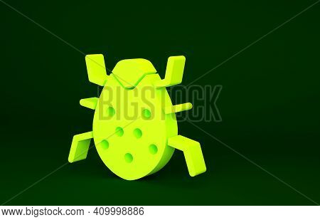 Yellow System Bug Concept Icon Isolated On Green Background. Code Bug Concept. Bug In The System. Bu