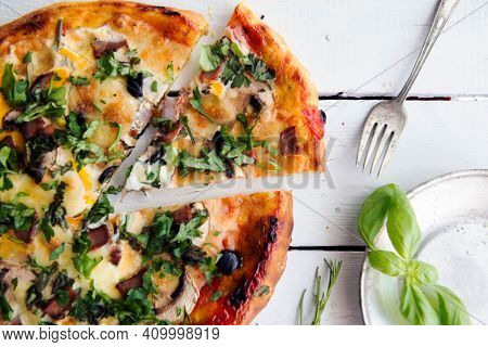 Tasty Pizza. Cheese Pizza. Pepperoni Pizza. Mushroom Pizza. Mozzarella And Tomato. Top View Of Hot P