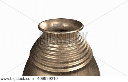 3d Illustration Rendering Vase Set Metallic Crockery, Drink, Illustration, Clip, Art, Oil, Pottery,