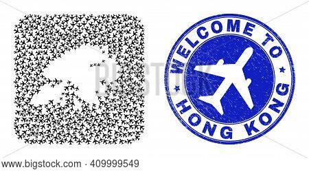 Vector Mosaic Hong Kong Map Of Air Plane Items And Grunge Welcome Seal Stamp. Mosaic Geographic Hong