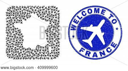 Vector Collage France Map Of Air Plane Items And Grunge Welcome Seal Stamp. Collage Geographic Franc