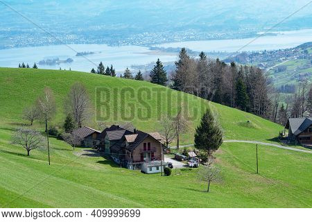 View From The Hills In The Outskirts Of Zurich Towards The Lake