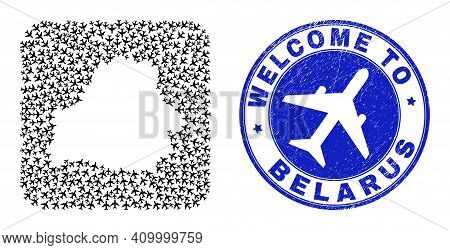 Vector Mosaic Belarus Map Of Airline Items And Grunge Welcome Seal. Mosaic Geographic Belarus Map Cr