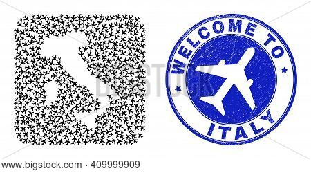 Vector Collage Italy Map Of Sky Jet Elements And Grunge Welcome Seal Stamp. Collage Geographic Italy