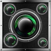 Acoustic system with green and black woofer and protection with hexagonal holes poster