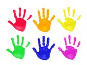 Set of colorful hand prints in rainbow order isolated on white background poster