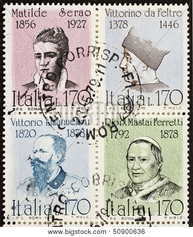 ITALY �¢?? CIRCA 1978: a block of four stamps printed in Italy shows portraits of  famous Italians: Matilde Serao, Vittorino da Feltre, Vittorio Emanuele, Pope Pio IX. Italy, circa 1978