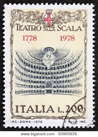 ITALY �¢?? CIRCA 1978: a stamp printed in Italy shows illustration of  La Scala theatre, famous opera house in Milan. Italy, circa 1978