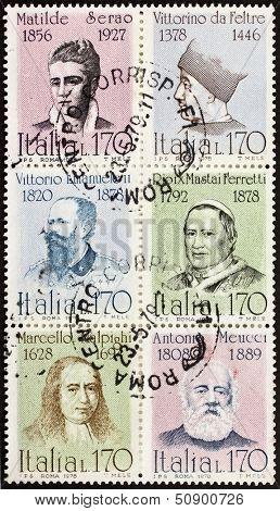 ITALY �¢?? CIRCA 1978: a block of six stamps printed in Italy shows portraits of  famous Italians: Serao, Vittorino da Feltre, Vittorio Emanuele, Pio IX, Malpighi and Meucci. Italy, circa 1978