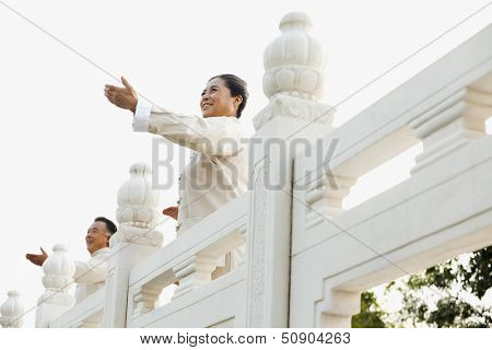 Two seniors practicing Taijiquan in Beijing, arms in front