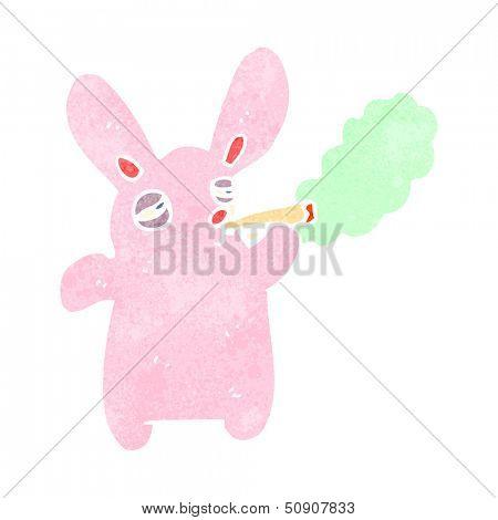 retro cartoon pink rabbit smoking marijuana poster