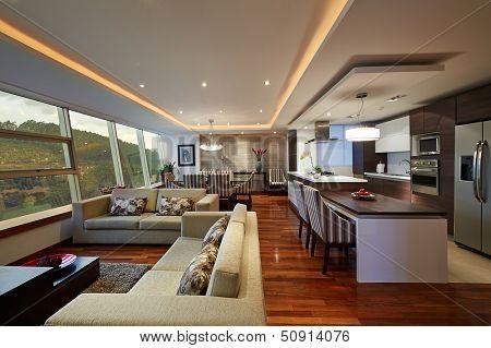 Innenarchitektur: Big Modern Living Zimmer und Küche