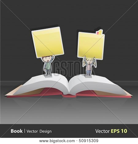 Group Of Kids Holding Yellow Stick Inside Pop-up Book. Vector Design