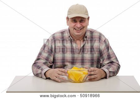 Man In A Plaid Shirt Brought Juicy Yellow Watermelon For Testing