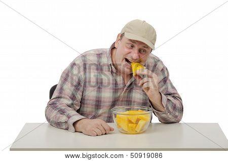 Village Man Biting Yellow Watermelon