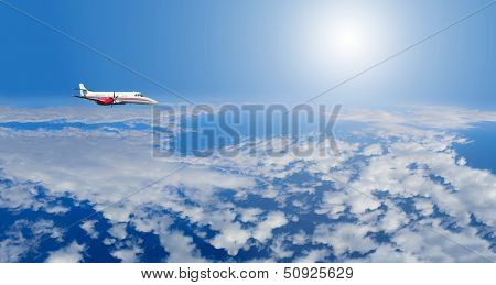 Private airplane inflight in the sky above clouds