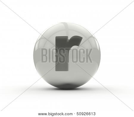 3D alphabet, spherical letter r isolated on white background