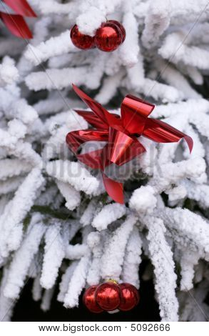 Red Decorations On Snowy