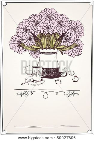 card with tea, apricot and bouquet of chrysanthemums