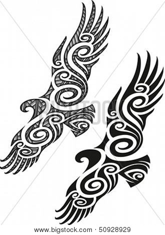 Maori styled tattoo pattern in a shape of eagle. Editable vector illustration.