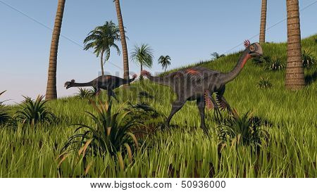 gigantoraptors in prehistoric forest