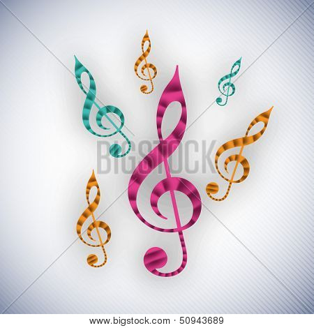 Colorful musical notes on grey background, can be use as flyer, poster or banner in concerts and parties.  poster