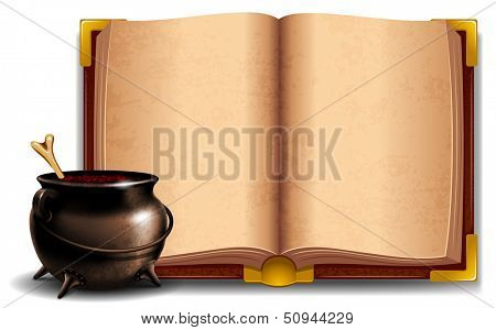 Witches cauldron with potion and magic book isolated on white background