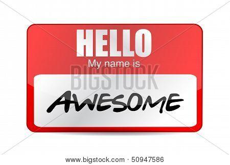 Hello I Am Awesome Tag. Illustration Design