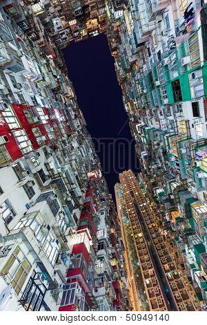 Hong Kong crowded building at night