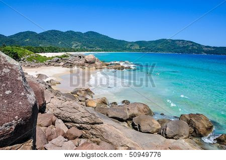 Surfing at Lopes Mendes Beach Brazil Rio do Janeiro. South America. poster
