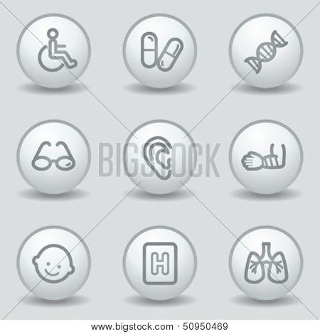 Medicine  web icons set 2, circle white matt buttons