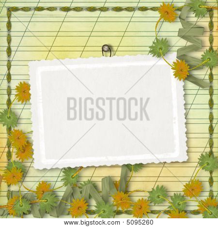 Card For Greeting Or Congratulation With Bunch Of Flowers And Streamers
